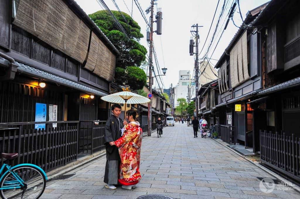 Pareja japonesa en Gion, Kioto