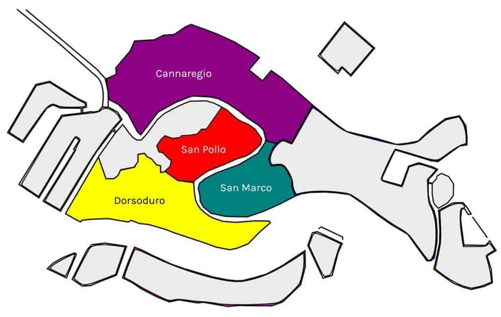 Mapa de los distritos de Venecia