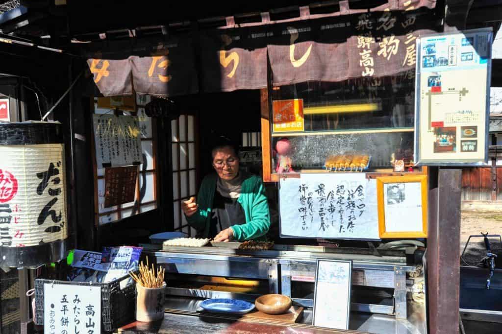 Quiosco callejero en Takayama