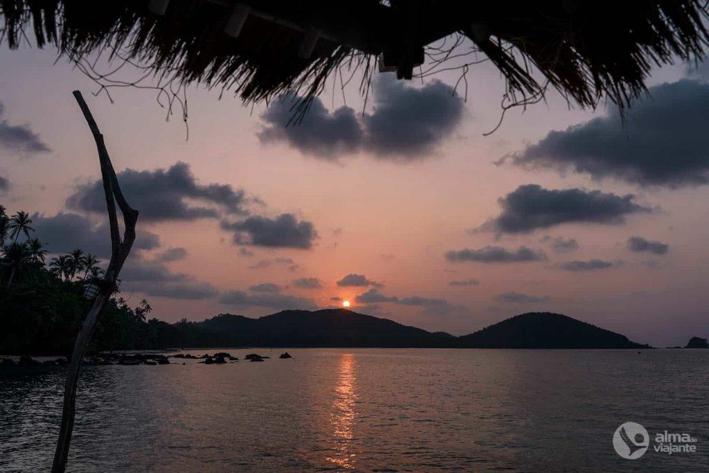 Puesta de sol en Koh Mak, Golfo de Tailandia