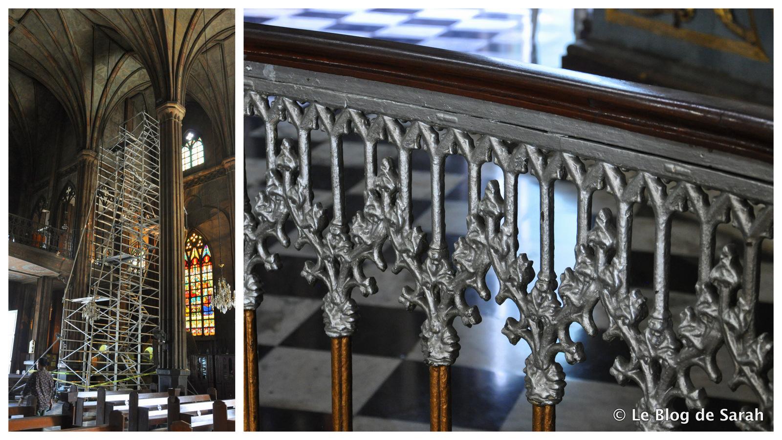 Una basílica de acero bajo el andamio para reparar daños por corrosión