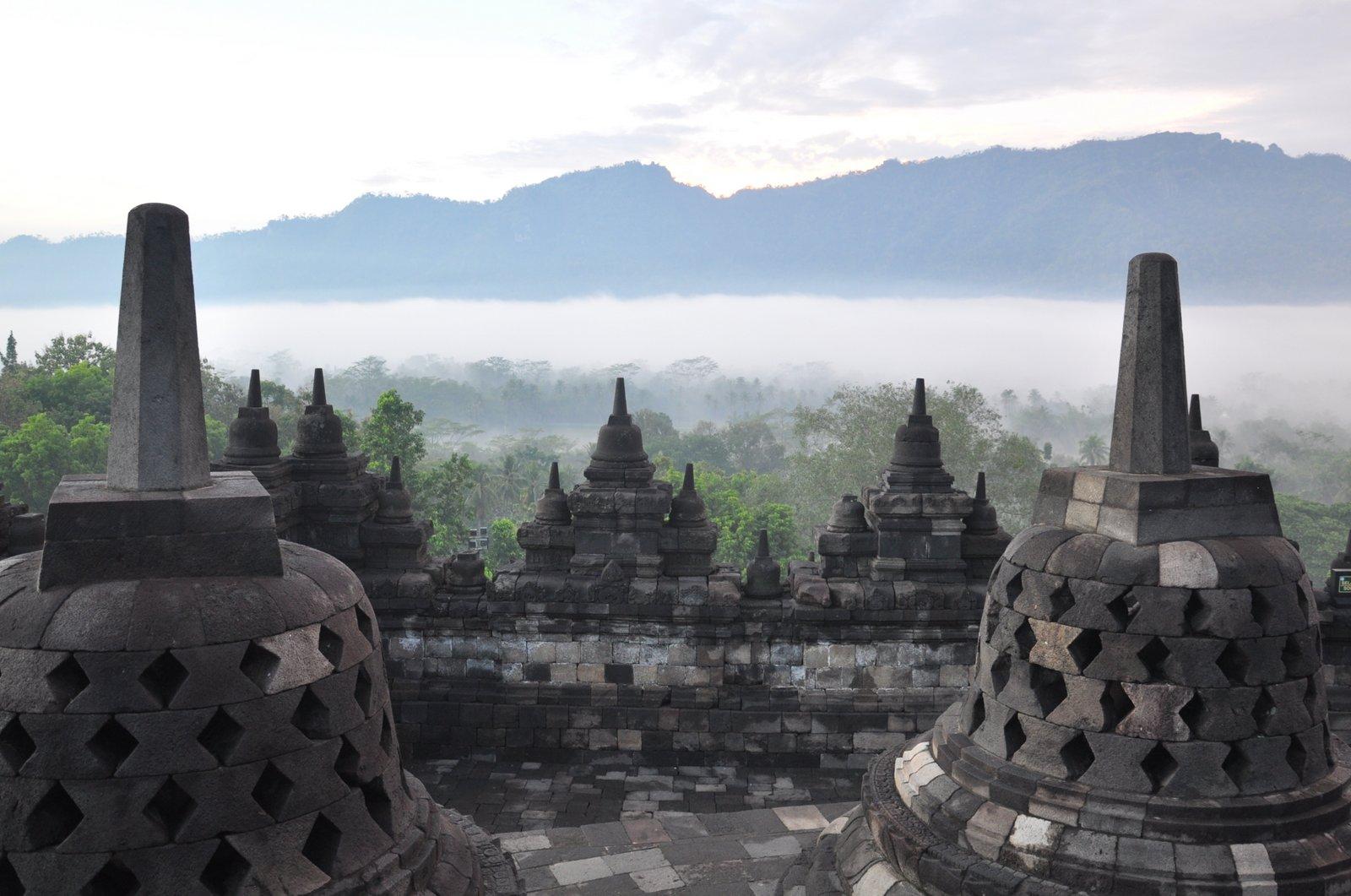 El templo de Borobudur, en la primera luz del día con la selva que emerge de la niebla