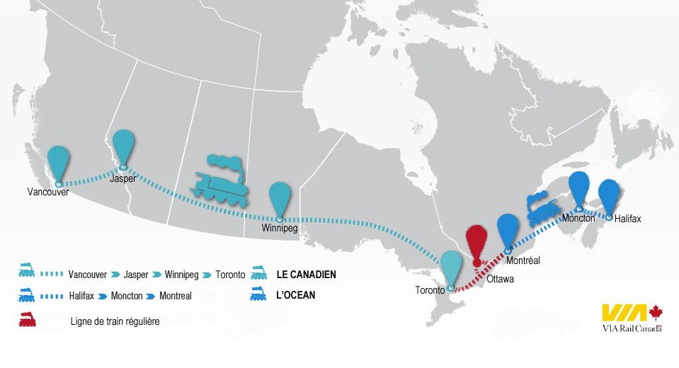 mapa del tren de Canadá