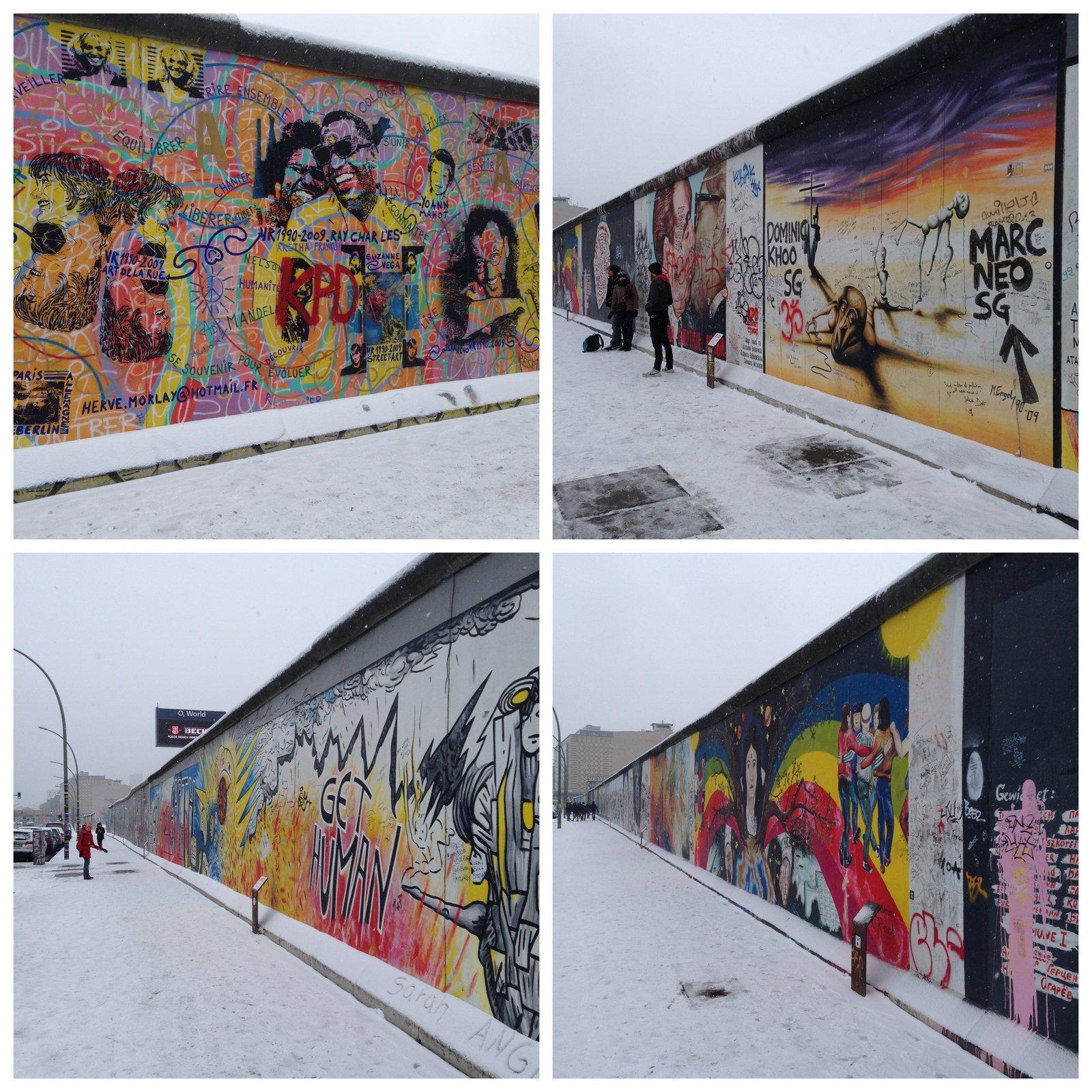 La East Side Gallery en Berlín bajo la nieve en 2014