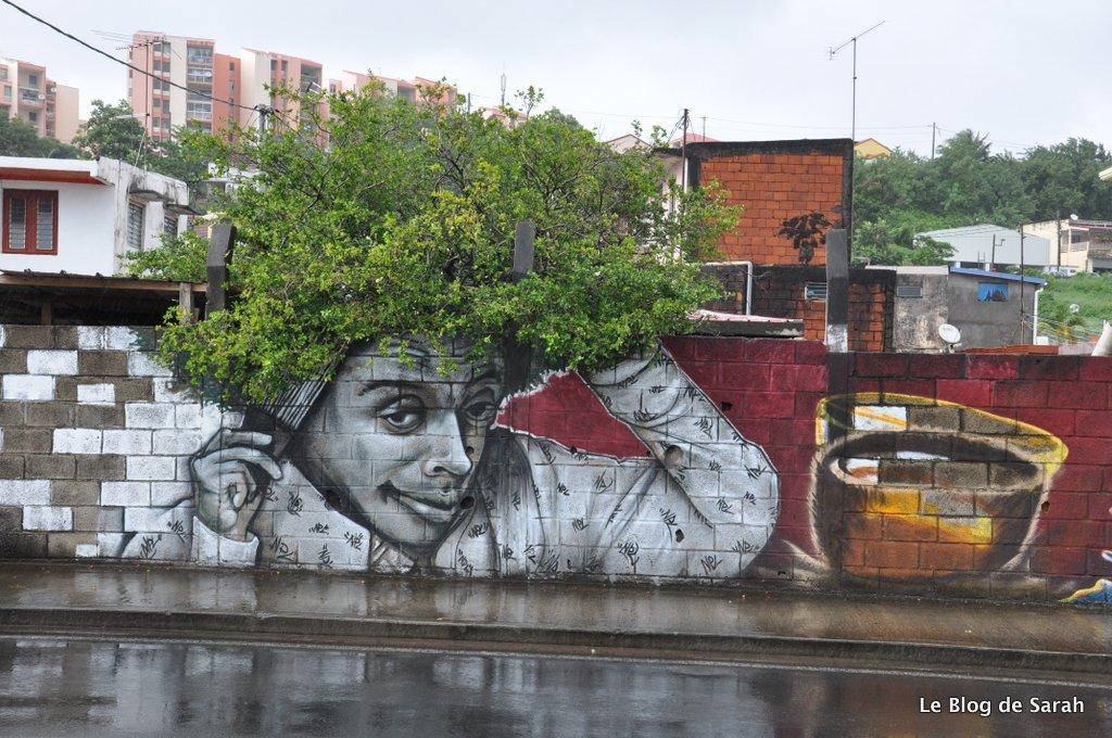 Spike Lee, una obra del artista Xän, en el camino al puerto de Fort-de-France