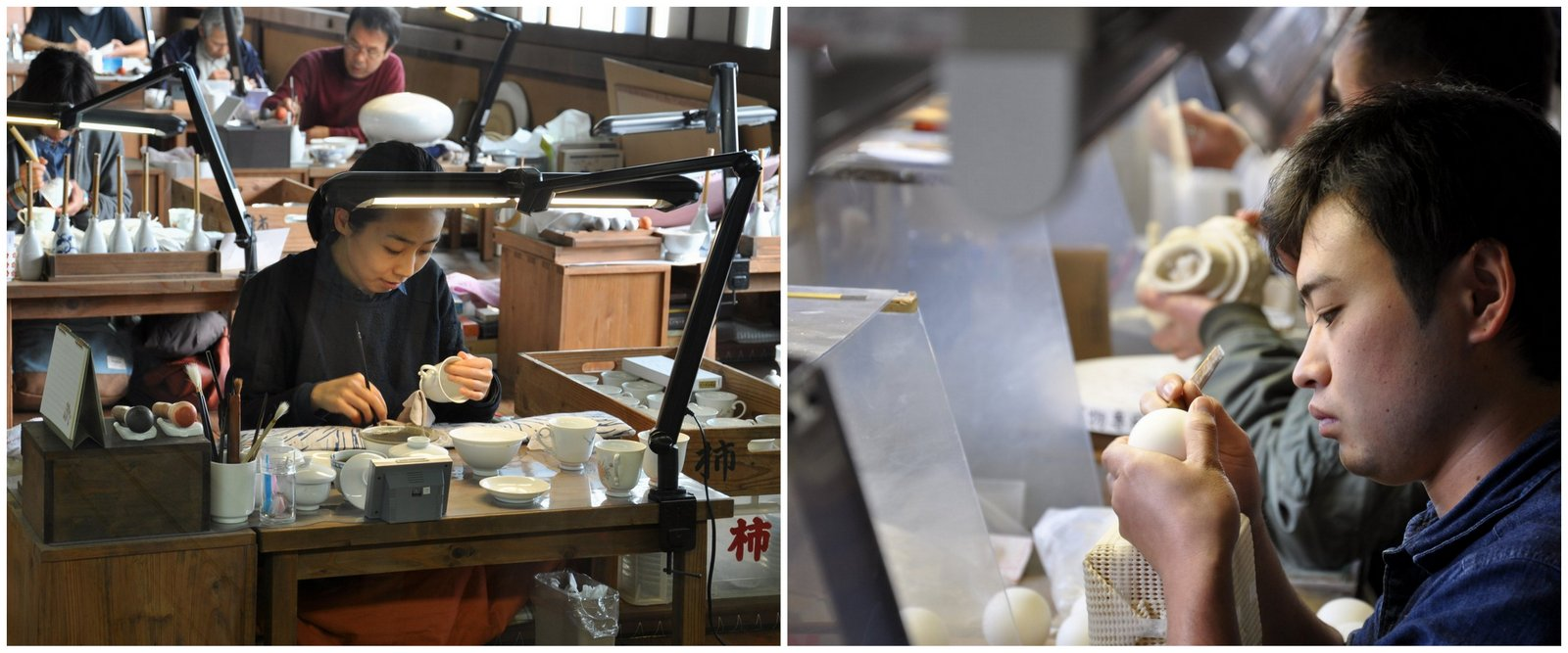 De artesanos en pleno trabajo a cerámica Arita
