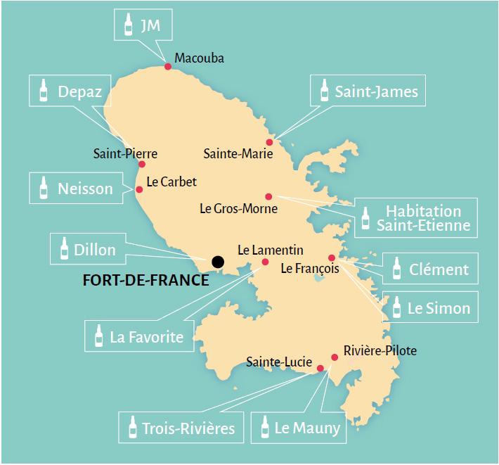Mapa de destilerías en Martinica