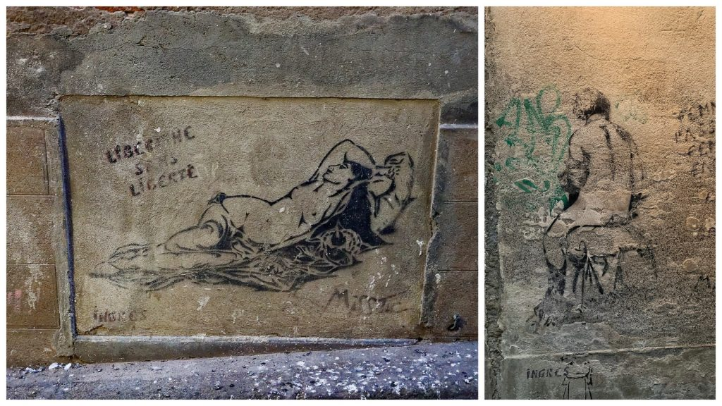 Dibujos de Miss Tic en Montauban en homenaje a Ingres