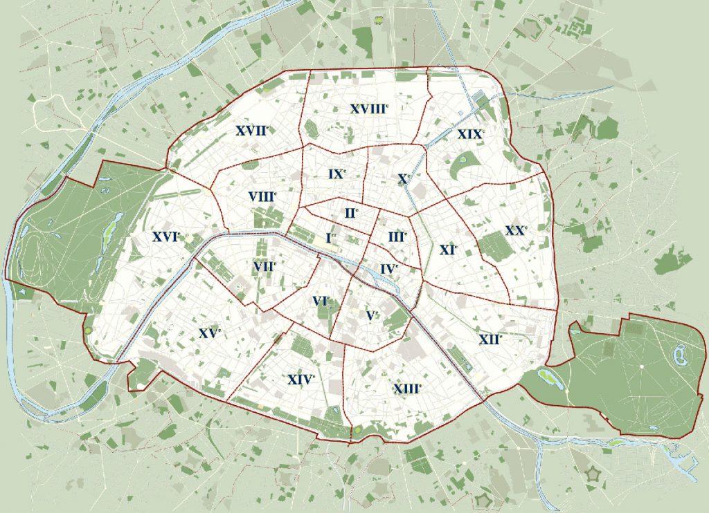 Mapa de los distritos de París