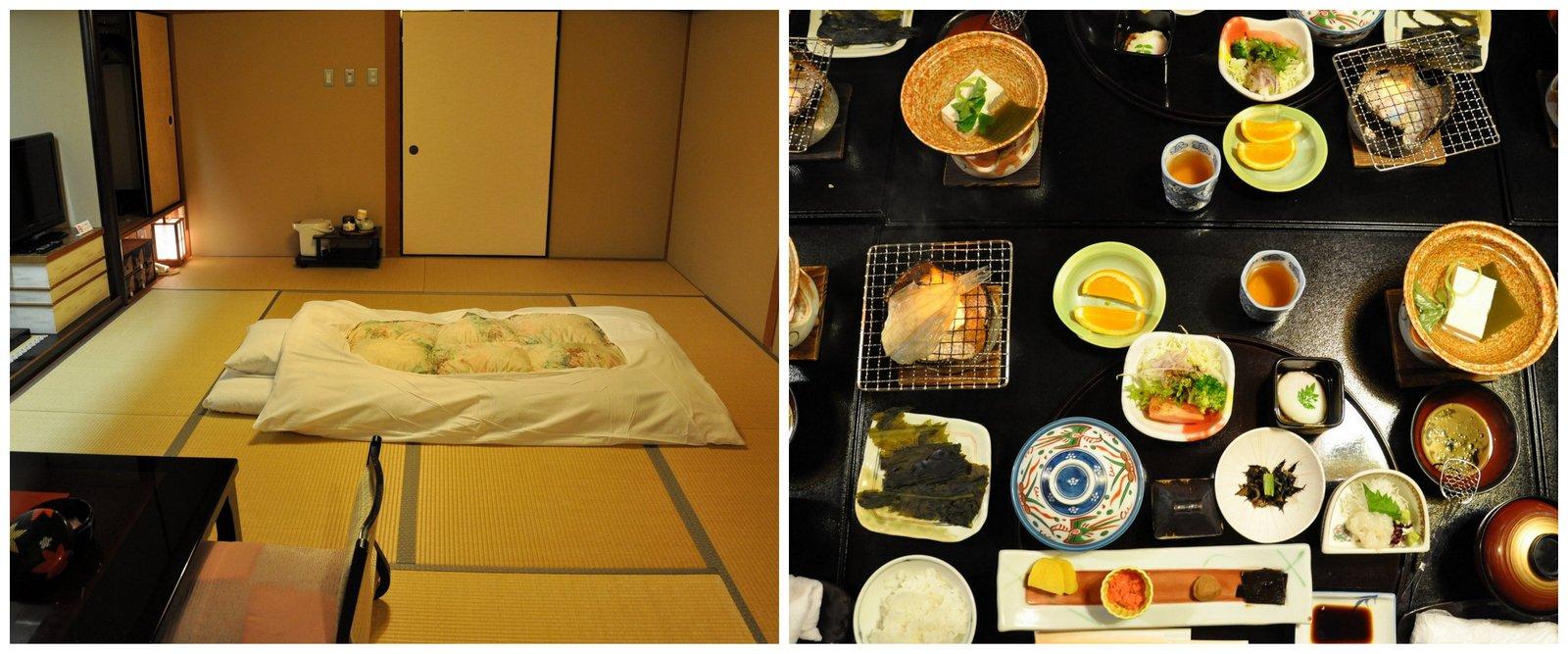 Habitación tradicional con futón y comida kaiseki en ryokan Mansuirou en Misasa