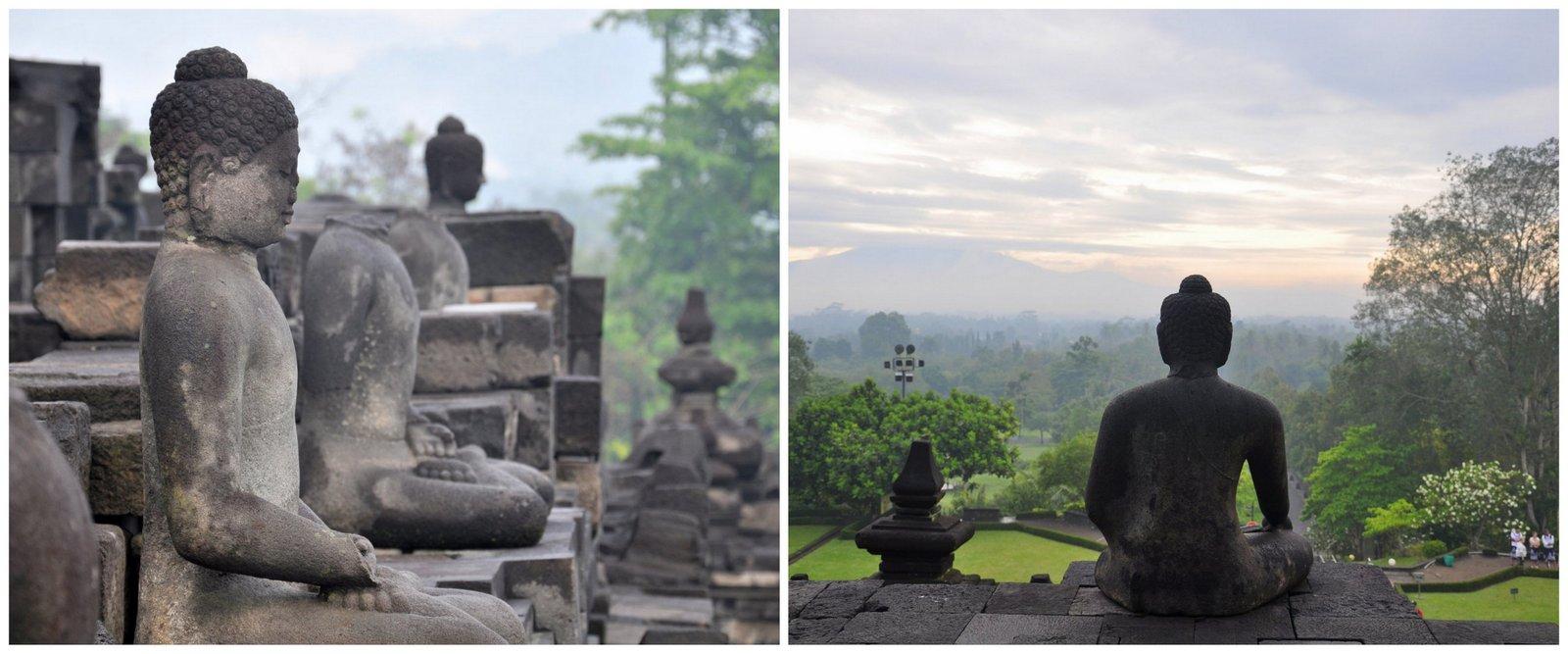Las estatuas de budas que adornan los niveles inferiores del templo Borobudur