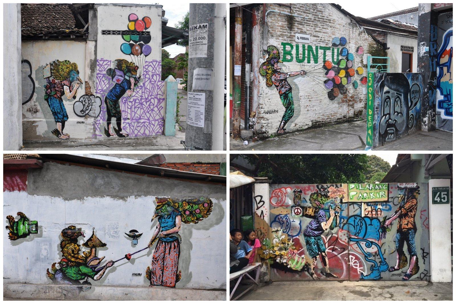 Arte callejero por el artista de Yogyakarta Anagard