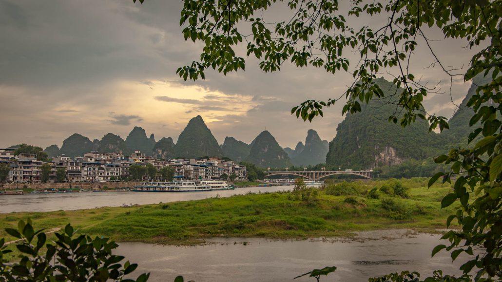 Puestas de sol en la región kárstica de Yangshou